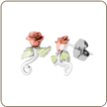 Black Hills Silver Earrings with Rose and Leaves (SKU: MRLER3744)