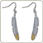 Sterling Black Hills Silver Feather Earrings with Black Hills Gold Feather Tip (SKU: ER828SS)