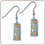 Black Hills Sterling Silver Rectangular Earrings with Leaves (SKU: ER903SS)