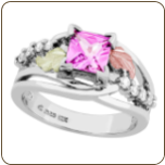 Landstroms Ladies Black Hills Silver Ring with Sapphire and Cubic Zirconia (SKU: MRLLR3809-812)