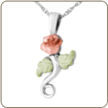 Black Hills Silver Pendant with Rose and Leaves (SKU: MRLPE3744)