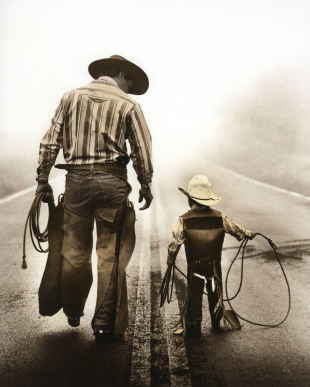 Cowboy Dad and Son