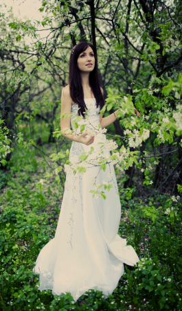 Spring Bride in woods